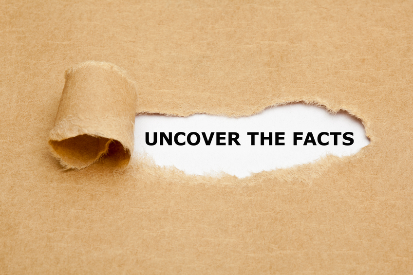 Uncover The Facts appearing behind torn brown paper.